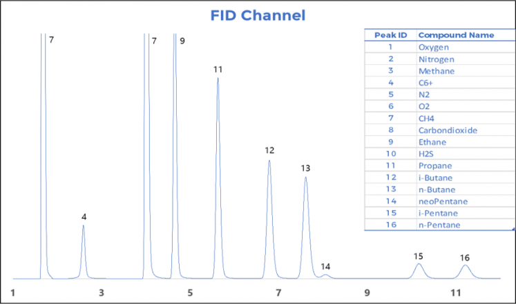 Figure 3. Natural Gas standard on FID
